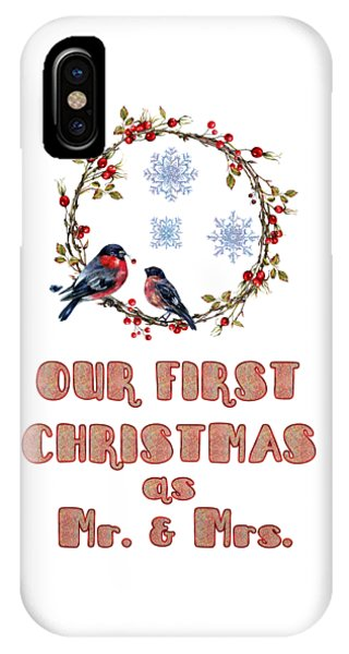 IPhone Case featuring the painting Our First Christmas Watercolor Bullfinches by Georgeta Blanaru
