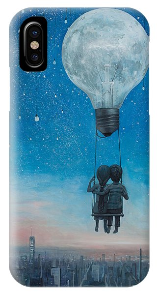 Hot Air Balloons iPhone Case - Our Love Will Light The Night by Adrian Borda