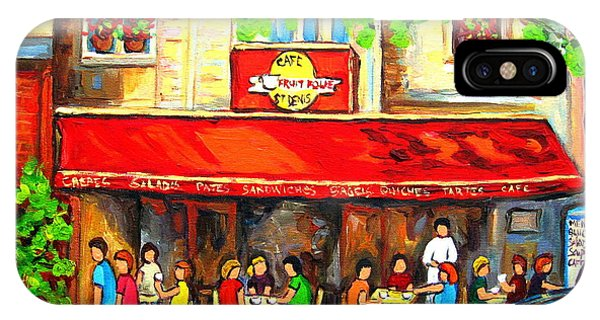 Table For Two iPhone Case - Outdoor Cafe On St. Denis In Montreal by Carole Spandau