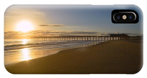 IPhone Case featuring the photograph Outer Banks Pier Sunrise by Barbara Ann Bell