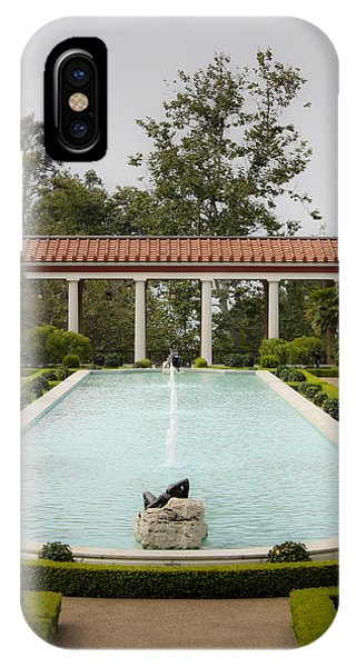 J Paul Getty iPhone Case - Outer Peristyle Pool And Fountain Getty Villa by Teresa Mucha