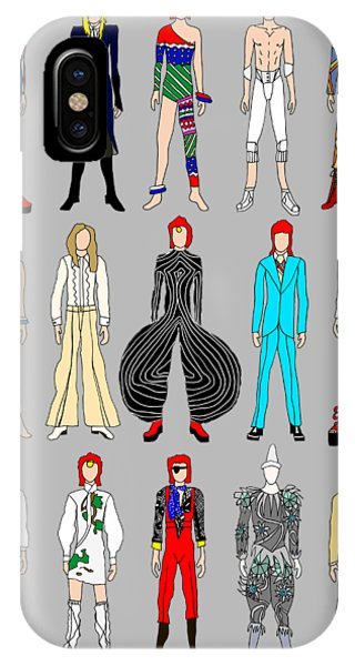 Famous People iPhone Case - Outfits Of Bowie by Notsniw Art