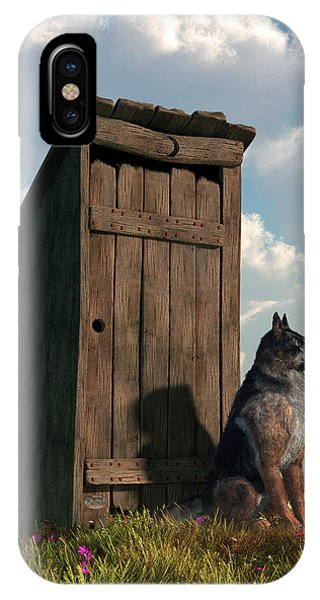 Outhouse Guardian - German Shepherd Version IPhone Case