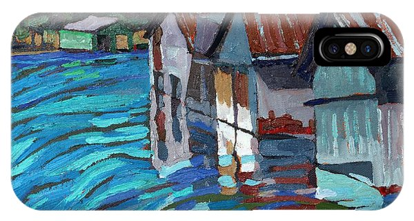 Outlet Row Of Boat Houses IPhone Case