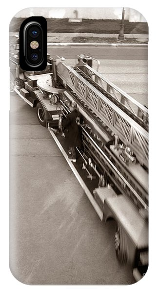 Stop Action iPhone Case - Overhead View Of Fire Truck, C.1960s by H. Armstrong Roberts/ClassicStock