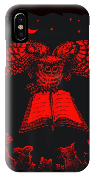 Owl And Friends Redblack IPhone Case