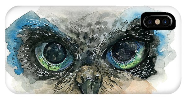 IPhone Case featuring the painting Owl Eyes by Lauren Heller