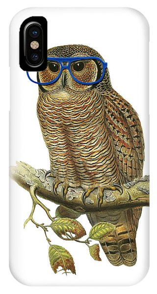 Baby Blue iPhone Case - Owl Sitting On A Branch With Blue Glasses by Madame Memento