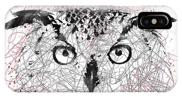 Owl Sketch Pen Portrait IPhone Case