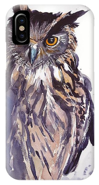 Sparrow iPhone Case - Owl Watercolor by Suzann's Art