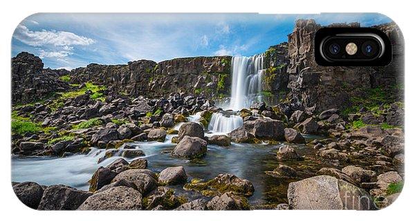Oxararfoss Waterfall  IPhone Case