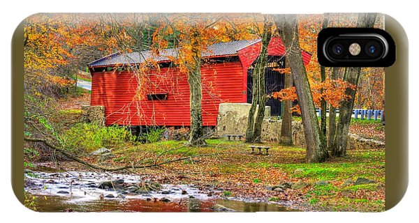 Pa Country Roads- Bartrams / Goshen Covered Bridge Over Crum Creek No.11 Chester / Delaware Counties IPhone Case
