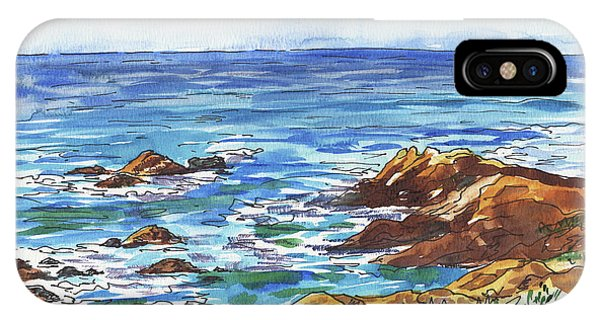 Monterey iPhone Case - Pacific Ocean Shore Monterey by Irina Sztukowski