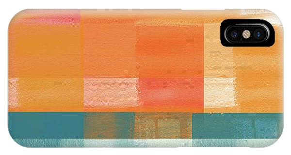 Orange Sunset iPhone Case - Pacific Sunset 2- Abstract Art By Linda Woods by Linda Woods