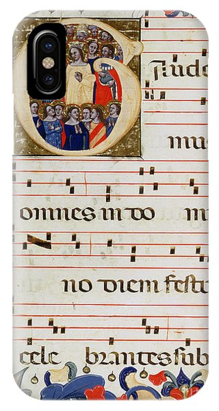 Page Of Musical Notation With A Historiated Letter G IPhone Case