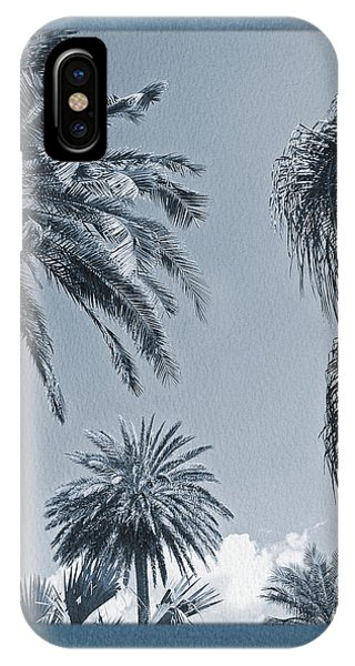 Painted Cyanotype Palms In The Sky IPhone Case