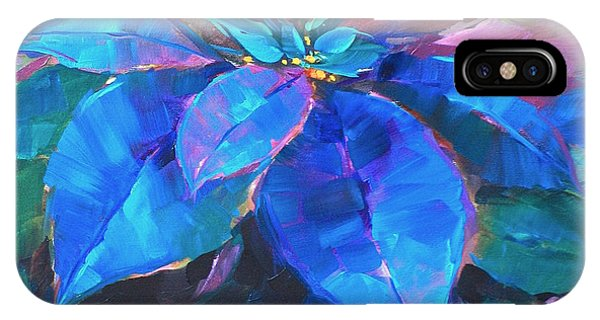 iPhone Case - Painted Ladies Blue Poinsettias by Nancy Medina