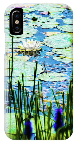 IPhone Case featuring the mixed media Painted North American White Water Lily by Onyonet  Photo Studios