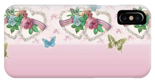 Painted Roses With Hearts IPhone Case