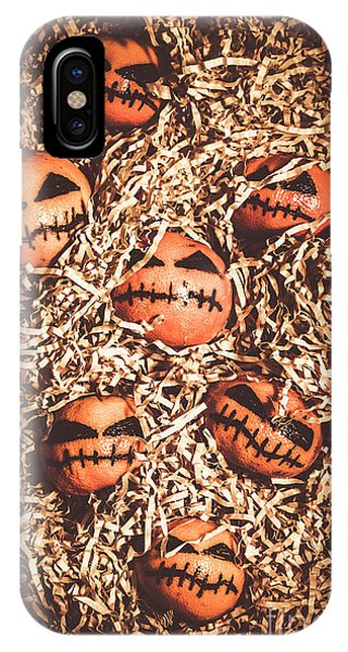 No People iPhone Case - painted tangerines for Halloween by Jorgo Photography - Wall Art Gallery