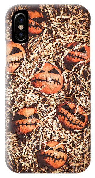 Sinister iPhone Case - painted tangerines for Halloween by Jorgo Photography - Wall Art Gallery