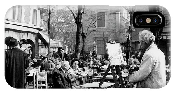 French Painter iPhone Case - Painter On The Place Du Tertre In Montmartre, Paris, 1958  by French School