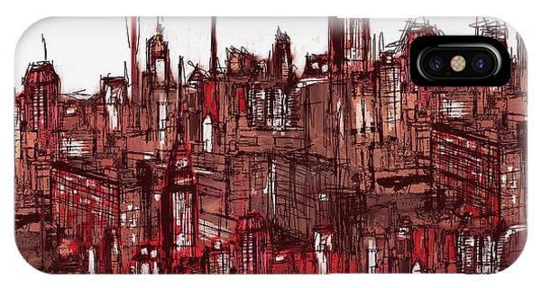 Manhattan Skyline iPhone Case - Painting 7756 New York Skyline by Mawra Tahreem