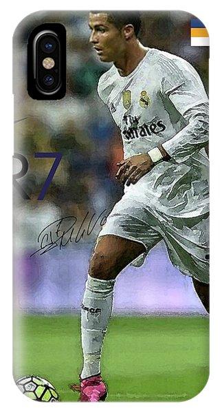 Borussia Dortmund iPhone Case - Mixed Media Painting, Signed, Cristiano Ronaldo, Real Madrid, Cr 7 by Thomas Pollart