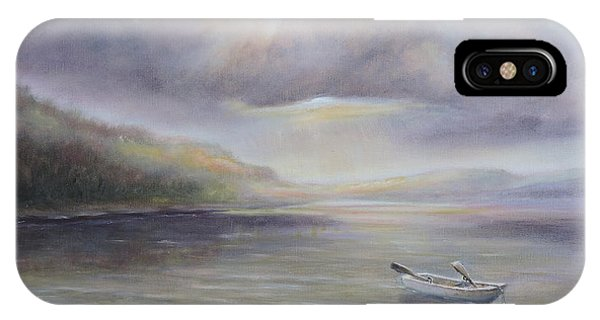 Beach By Sruce Run Lake In New Jersey At Sunrise With A Boat IPhone Case