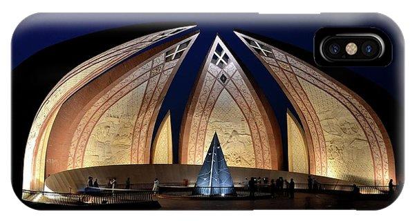 Pakistan Monument Illuminated At Night Islamabad Pakistan IPhone Case