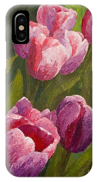 IPhone Case featuring the painting Palette Tulips by Phyllis Howard