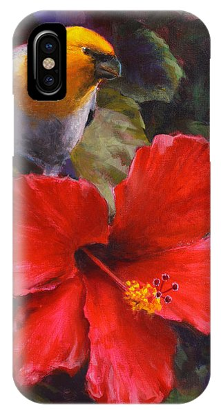 Palila And Hibiscus - Hawaiian Painting IPhone Case