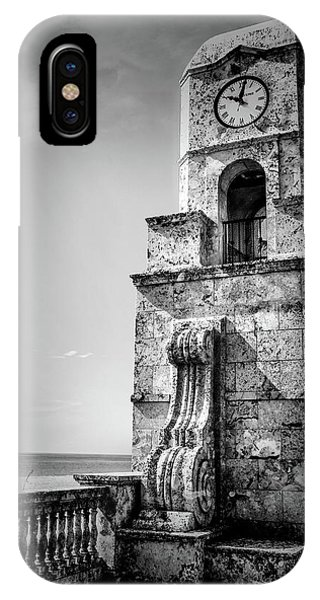 Palm Beach Clock Tower In Black And White IPhone Case