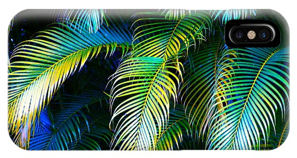 Tropical iPhone Case - Palm Leaves In Blue by Karon Melillo DeVega