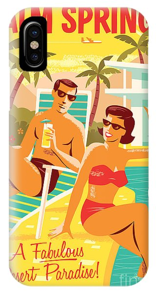 Retro iPhone Case - Palm Springs Poster - Retro Travel by Jim Zahniser