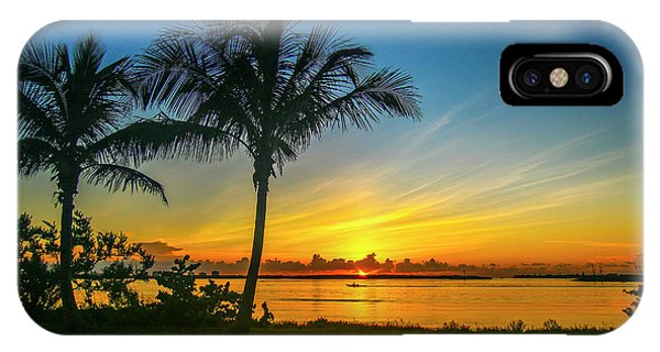 Palm Tree And Boat Sunrise IPhone Case