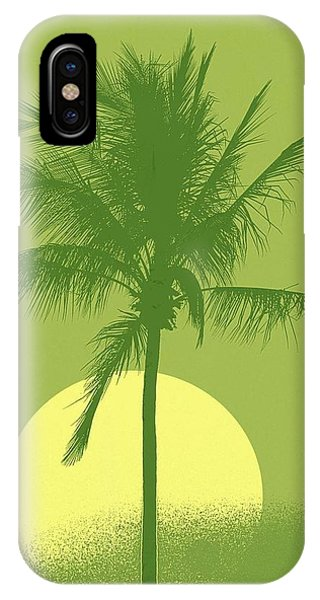 Palm Tree Green Sun Setting Phone Case by Philip Okoro
