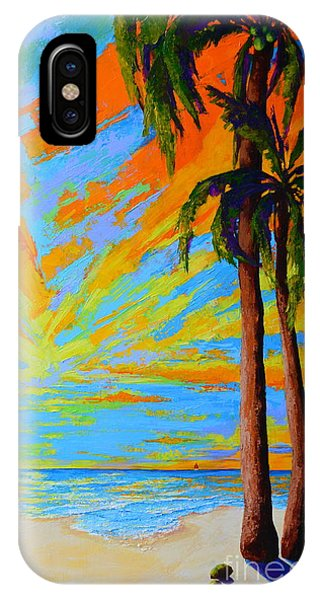 IPhone Case featuring the painting Florida Palm Trees, Tropical Beach, Colorful Sunset Painting by Patricia Awapara