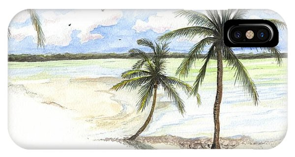 IPhone Case featuring the painting Palm Trees On The Beach by Darren Cannell