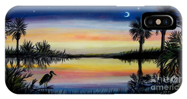 Palmetto Tree And Moon Low Country Sunset IPhone Case