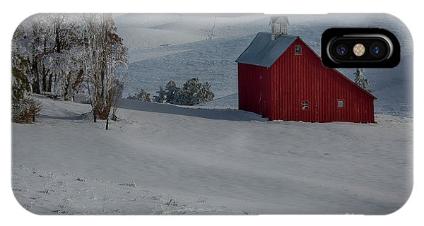 Palouse Saltbox Barn Winter IPhone Case