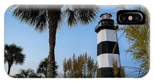 Pampas Grass, Palms And Lighthouse IPhone Case