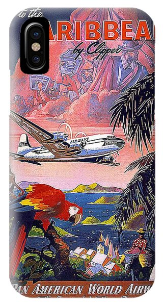 Advertising iPhone Case - Pan American World Airways - Flying Clippers - Caribbean - Retro Travel Poster - Vintage Poster by Studio Grafiikka
