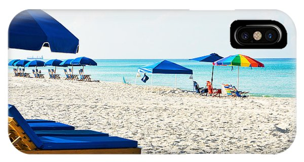Panama City Beach Florida With Beach Chairs And Umbrellas IPhone Case