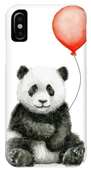 Panda Baby And Red Balloon Nursery Animals Decor IPhone Case