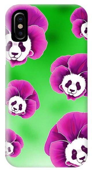 Panda Pansies IPhone Case