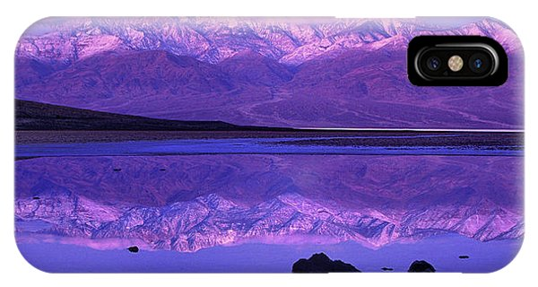 IPhone Case featuring the photograph Panorama Badwater And The Panamint Range At Sunrise Death Valley by Dave Welling