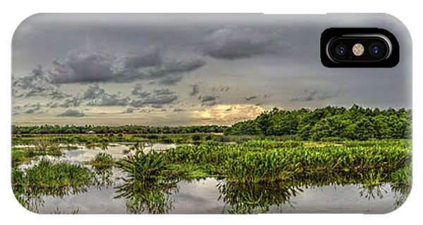 Panorama, Florida Wetlands At Sunset IPhone Case