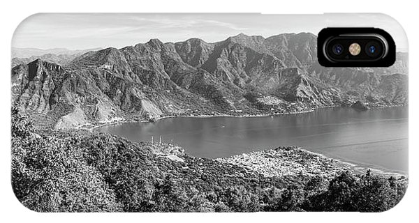 IPhone Case featuring the photograph Panorama Of Lake Atitlan Black And White by Tim Hester