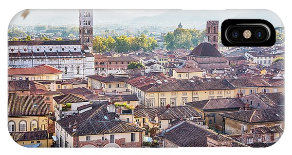 IPhone Case featuring the photograph panorama of old town Lucca, Italy by Ariadna De Raadt